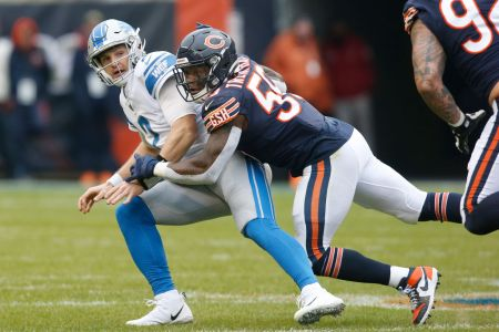 Danny Trevathan of the Chicago Bears pressures Jeff Driskel of the Detroit Lions during the first quarter at Soldier Field on November 10, 2019 in Chicago, Illinois. (Photo by Nuccio DiNuzzo/Getty Images)
