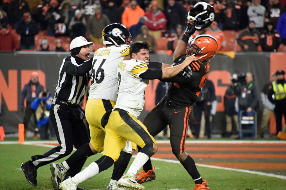 "Browns Player Hits Steelers QB In Head With Helmet in ""TNF"" Brawl"