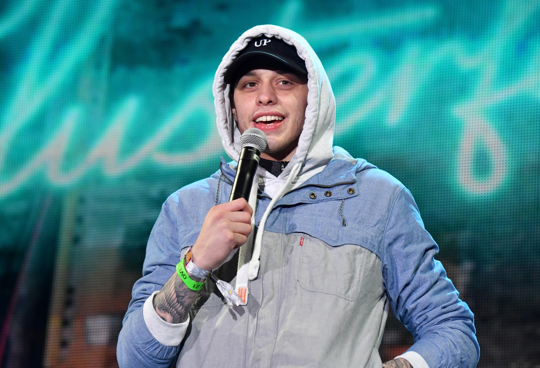 Pete Davidson performs onstage at the Colossal Stage during Colossal Clusterfest at Civic Center Plaza and The Bill Graham Civic Auditorium on June 3, 2017 in San Francisco, California.  (Photo by Jeff Kravitz/FilmMagic)