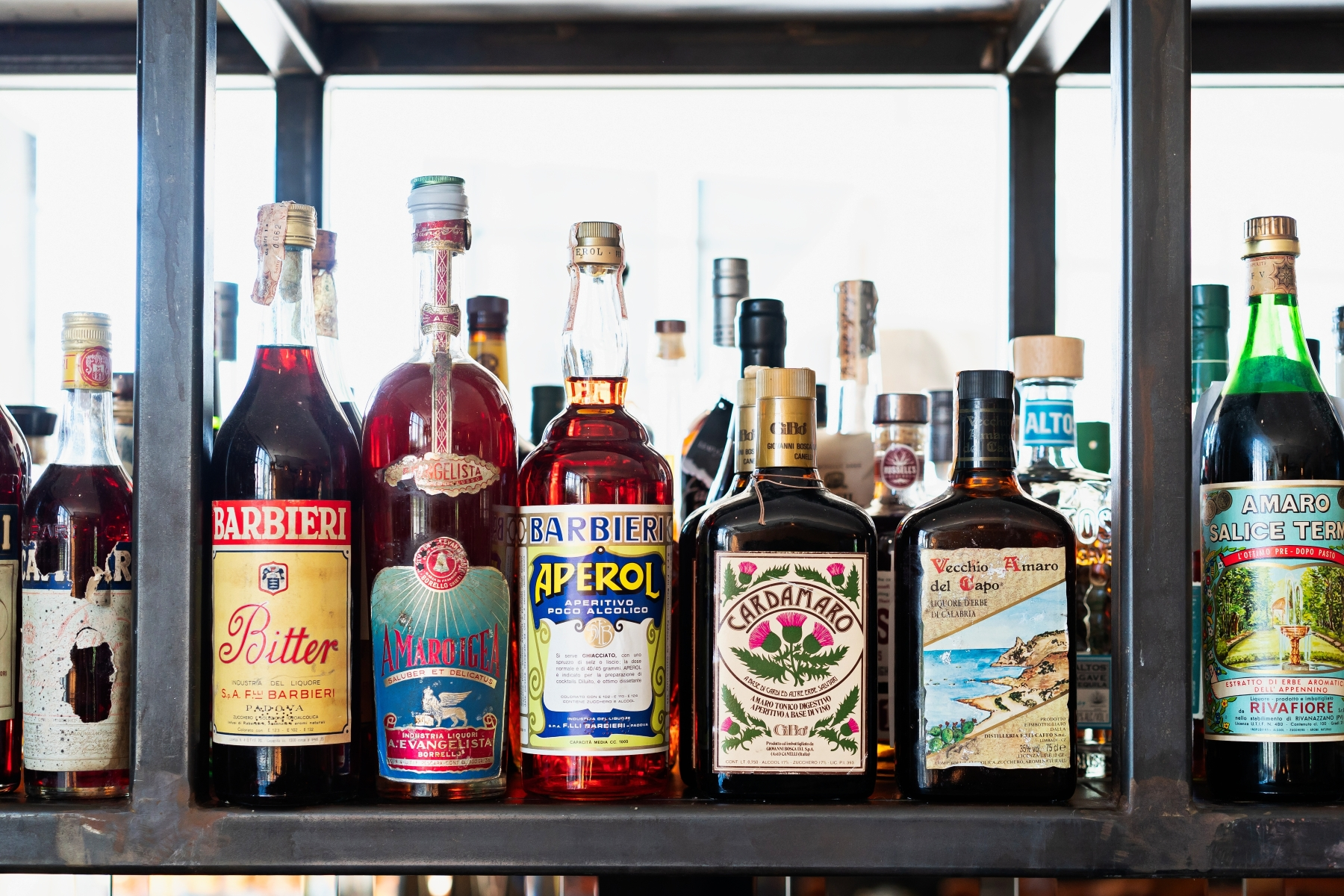 The amaro library at Officina. (Photo by Scott Suchman)