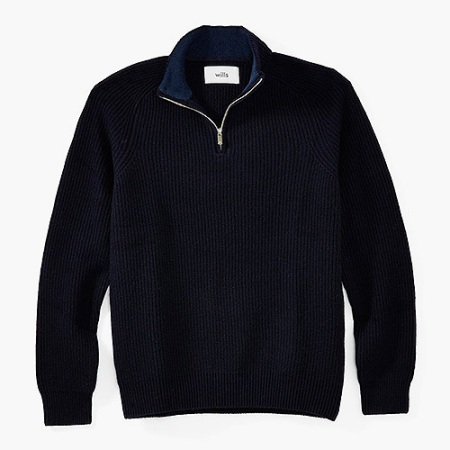 Wills Ribbed 1/4 Zip Mock Neck Pullover