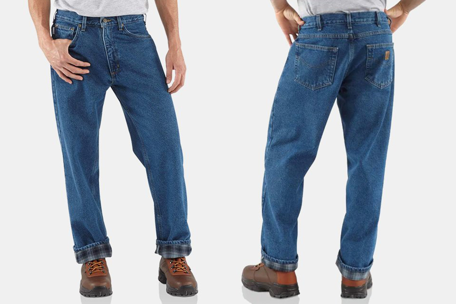 Carhartt Relaxed-Fit Straight-Leg Flannel-Lined Jeans