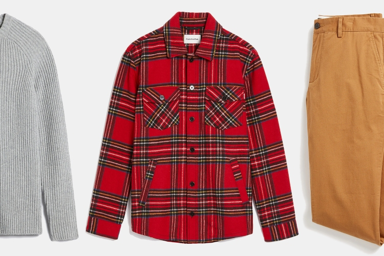 Frank And Oak men's flannel shirts, chinos and sweaters