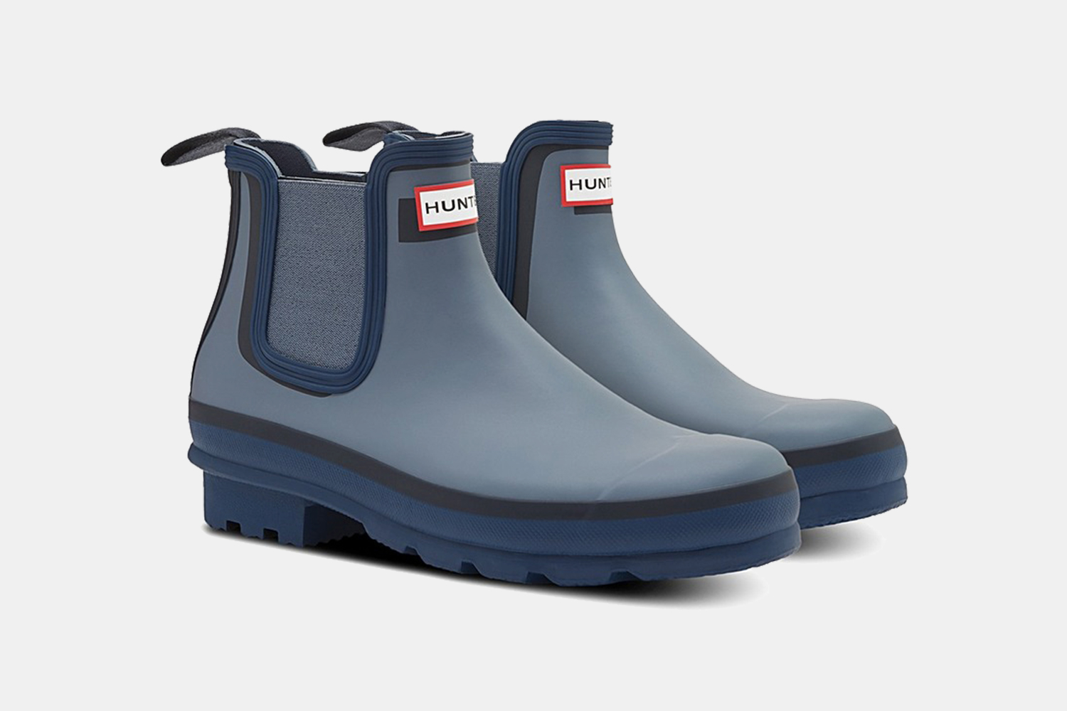 Hunter Chelsea Waterproof Rain Boots in Blue and Grey Discount