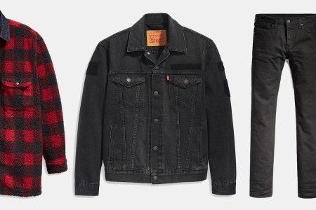 Levi's Trucker Jacket, Jeans and Sherpa Shirt