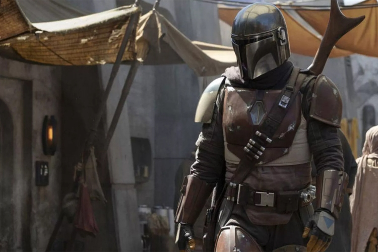 Pedro Pascal in The Mandalorian, the live-action Star Wars show from DisneyPlus.