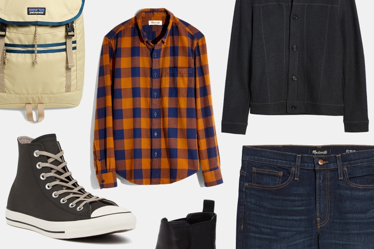 Madewell shirts and jeans, Patagonia backpack, Converse sneakers, Billy Reid jacket