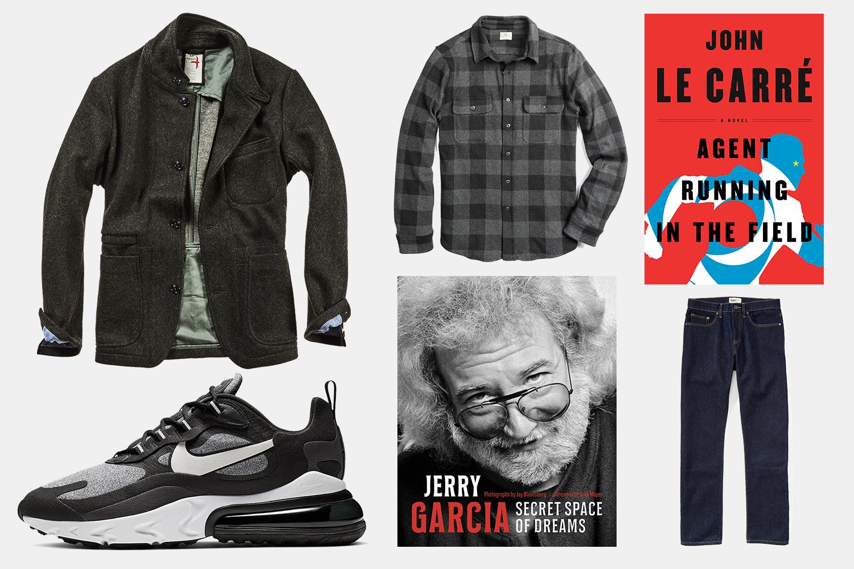 Relwen blazer, Faherty shirt, Nike sneakers, books and Wellen organic jeans