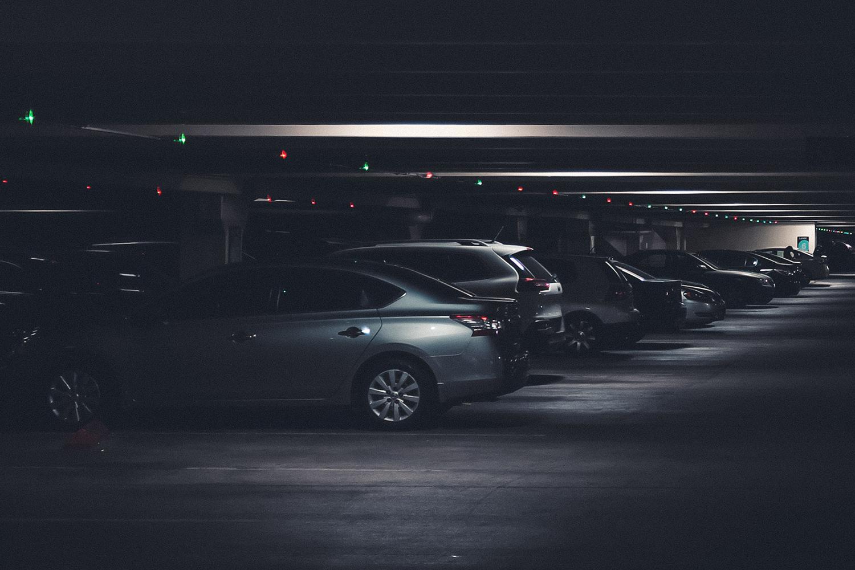 Dark parking garage blue tooth scanner