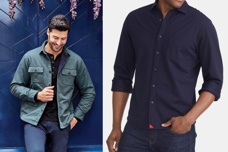 Untuckit Flannel-Lined Shirt Jacket and Pique Polo Hybrid Shirt