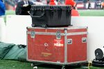 A view of the Kansas City Chiefs equipment case during warmups. A large portion of the team's equipment had been sent to New Jersey instead of Massachusetts prior to the start of the game against the New England Patriots at Gillette Stadium on December 8, 2019 in Foxborough, Massachusetts. (Photo by Kathryn Riley/Getty Images)