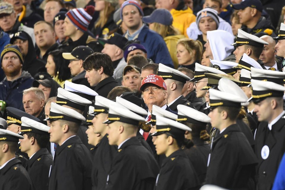 President Donald Trump watches the game during the Army-Navy game on December 14, 2019 at Lincoln Financial Field in Philadelphia PA.(Photo by Andy Lewis/Icon Sportswire via Getty Images)