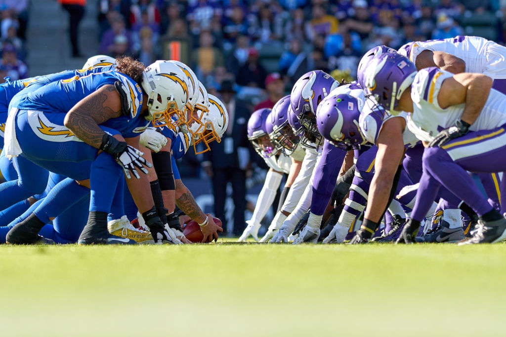 The Los Angeles Chargers offensive line and Minnesota Vikings defensive line lineup at the line of scrimmage on December 15, 2019, at Dignity Health Sports Park in Carson, CA. (Photo by Robin Alam/Icon Sportswire via Getty Images)