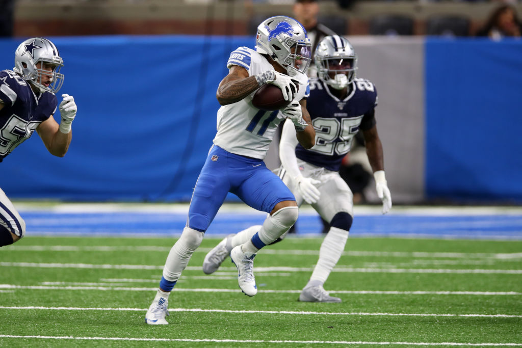 Marvin Jones Jr. of the Detroit Lions in action during the game against the Dallas Cowboys at Ford Field on November 17, 2019 in Detroit, Michigan.  (Photo by Rob Leiter/Getty Images)