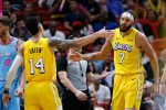 Danny Green and JaVale McGee of the Los Angeles Lakers celebrate against the Miami Heat during the second half at American Airlines Arena on December 13, 2019 in Miami, Florida. (Photo by Michael Reaves/Getty Images)
