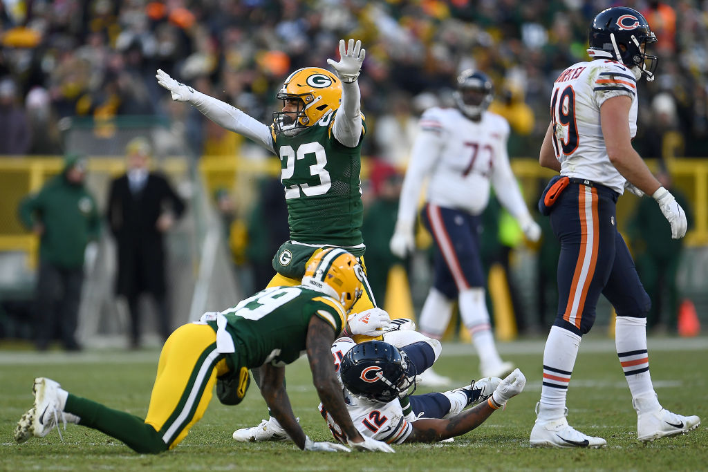 Cornerback Jaire Alexander of the Green Bay Packers reacts to a defensive stop on fourth down incomplete pass to wide receiver Allen Robinson of the Chicago Bears at Lambeau Field on December 15, 2019 in Green Bay, Wisconsin. (Photo by Stacy Revere/Getty Images)