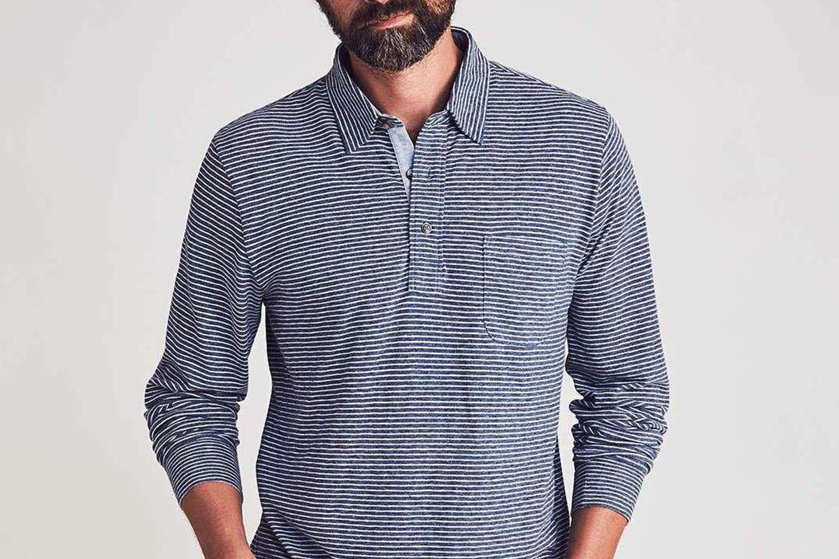 Long-Sleeve Luxe Striped Heather Polo
