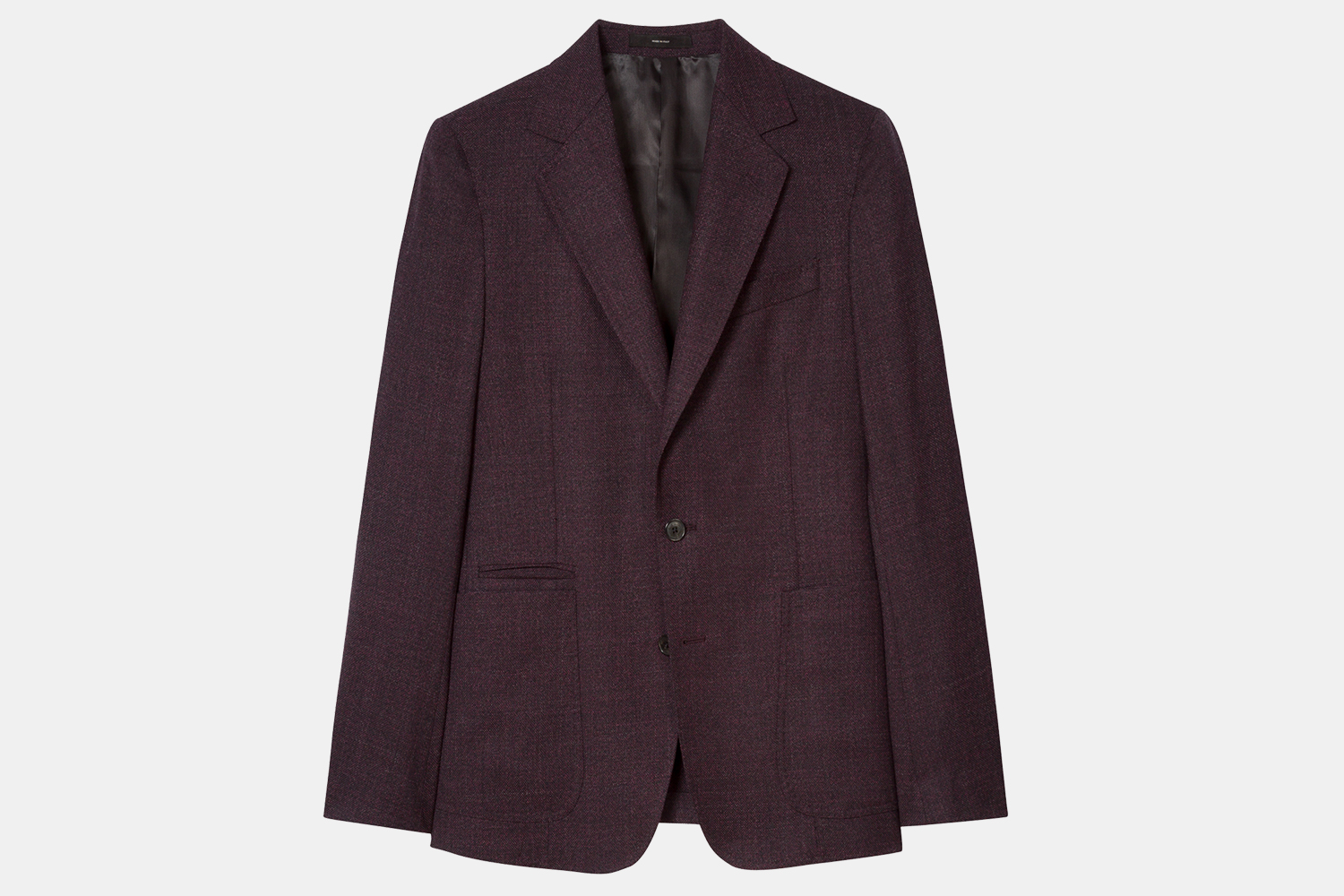 Paul Smith Men's Burgundy Textured Wool Buggy-Lined Blazer Discount