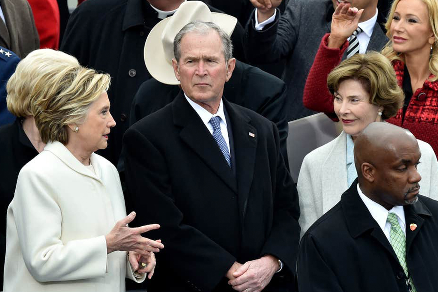 Hillary Clinton, George W. Bush and Laura Bush at the 2017 Presidential Inauguration.