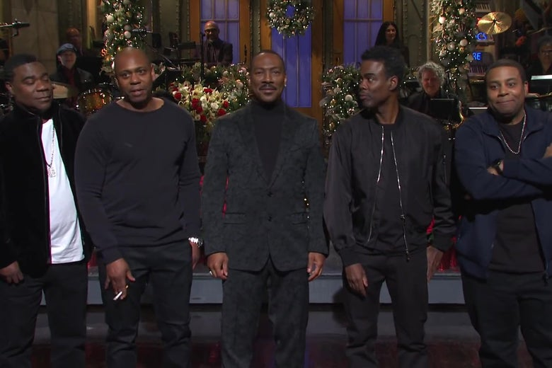 "Eddie Murphy was joined by Tracy Morgan, Dave Chappelle and Chris Rock during his monologue on ""SNL."""