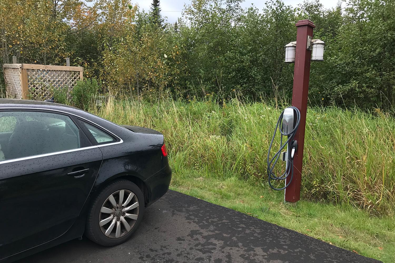 Tesla charging station at Larsmont Cottages