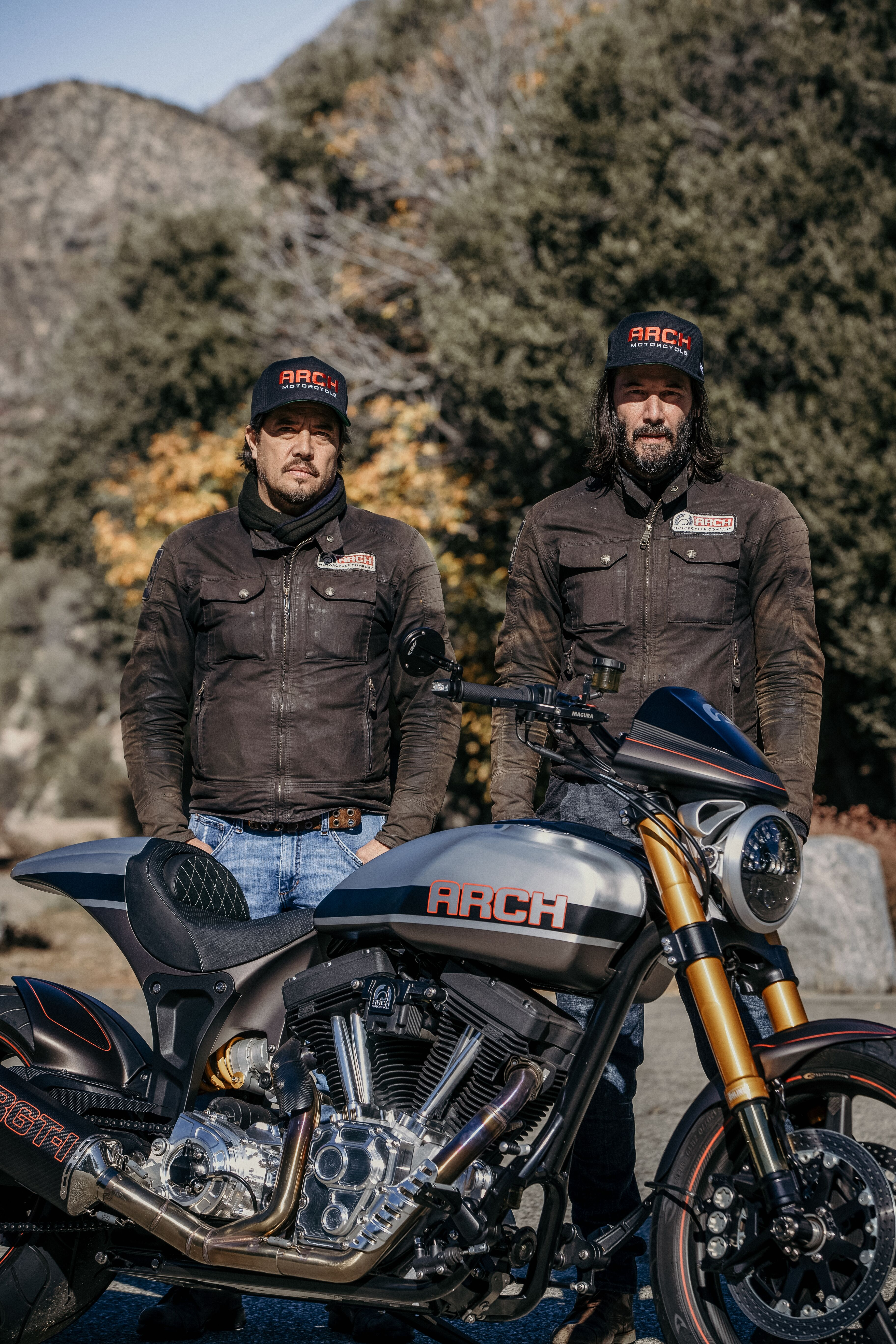 Keanu Reeves showing off Arch motorcycles KRGT-1