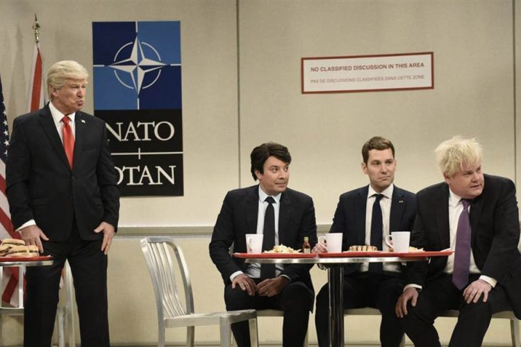 "Watch Jimmy Fallon, Paul Rudd and James Corden Bully Trump in ""SNL"" NATO Sketch"