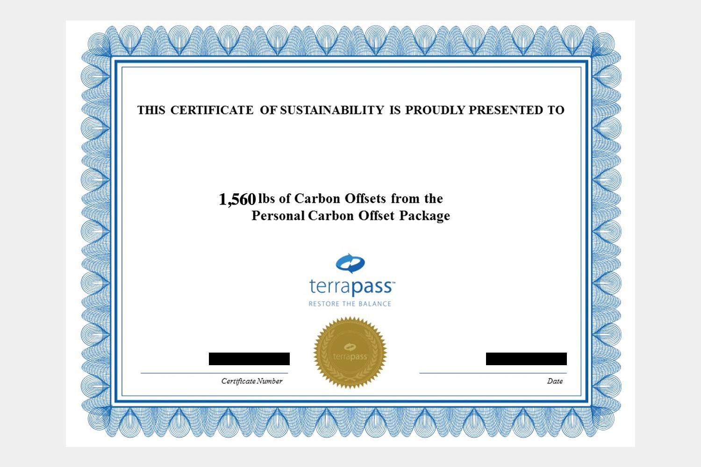 Terrapass carbon offsets certificate for air travel