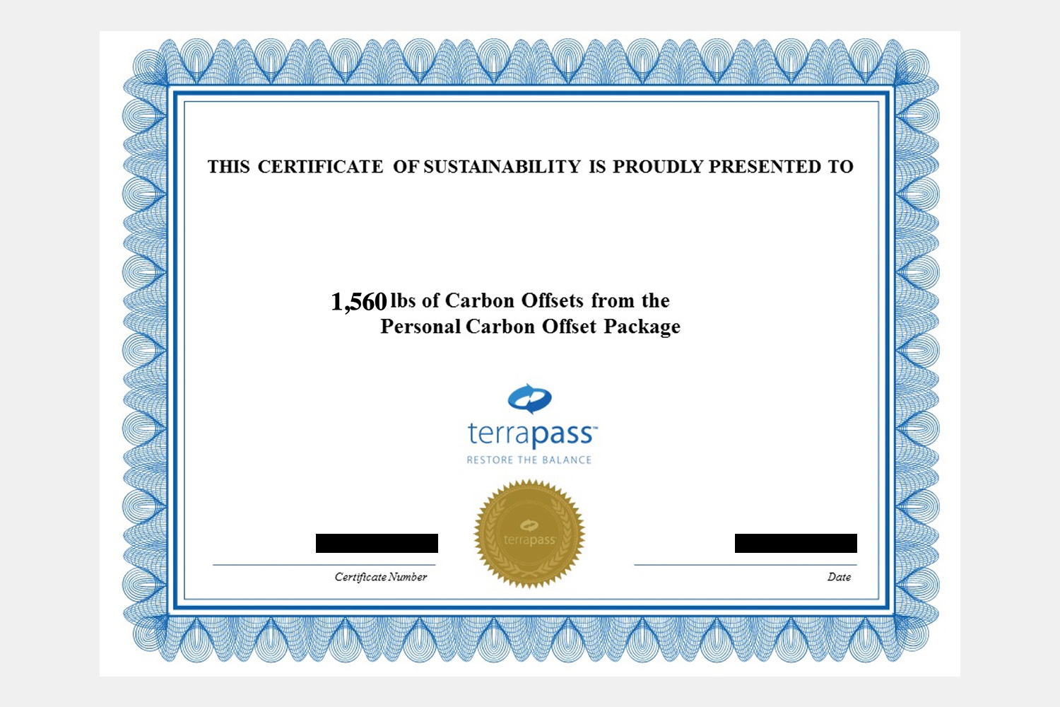 Terrapass carbon offsets certificate for air travel