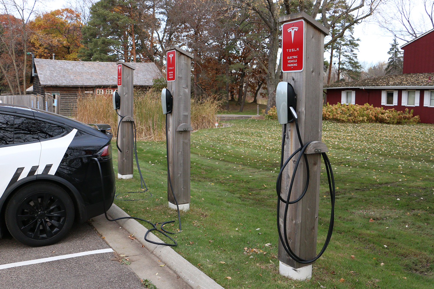 Tesla charging stations at the Old Log Theatre