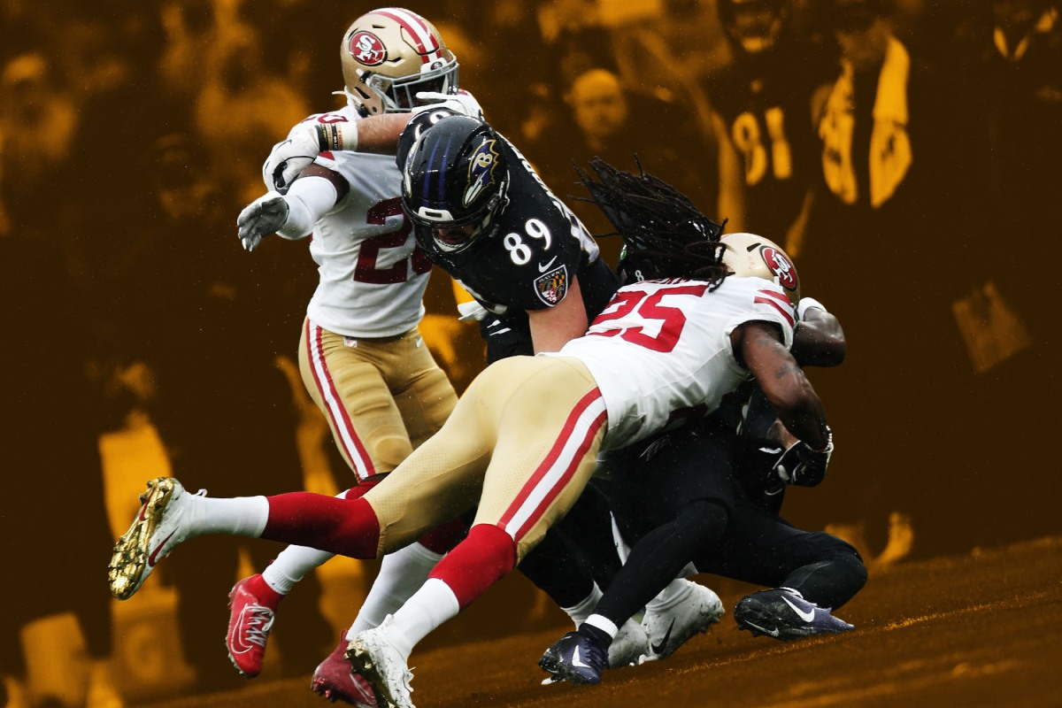 The 49ers outmuscle defenses while the Ravens plain outrun them.