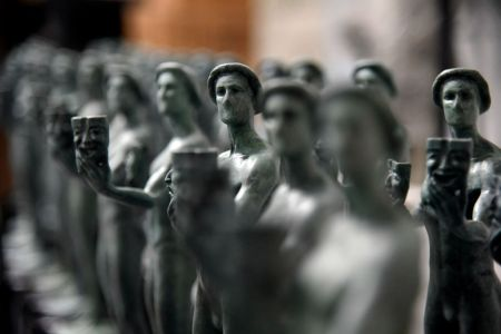 Finished solid bronze statuettes known as 'the Actor' are on display at the American Fine Arts Foundry in Burbank, California. (Photo by Kevork Djansezian/Getty Images)