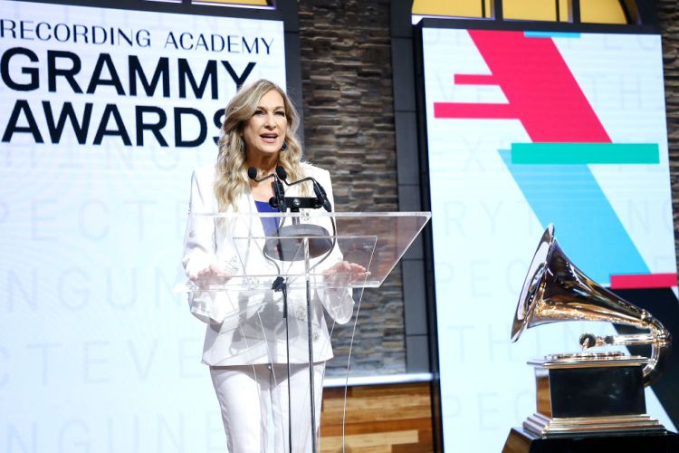Former Recording Academy president and CEO Deborah Dugan speaks at the 62nd Grammy Awards Nominations at CBS Broadcast Center on November 20, 2019 in New York City. (Photo by John Lamparski/WireImage)