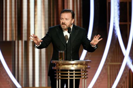 Host Ricky Gervais speaks onstage during the 77th Annual Golden Globe Awards at The Beverly Hilton Hotel on January 5, 2020 in Beverly Hills, California. (Photo by Paul Drinkwater/NBCUniversal Media, LLC via Getty Images)