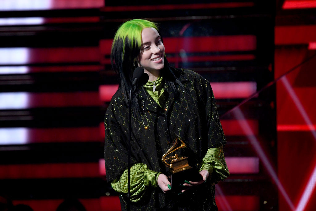 Billie Eilish accepts the Best New Artist award onstage during the 62nd Annual GRAMMY Awards at Staples Center on January 26, 2020 in Los Angeles, California. (Photo by Kevork Djansezian/Getty Images)