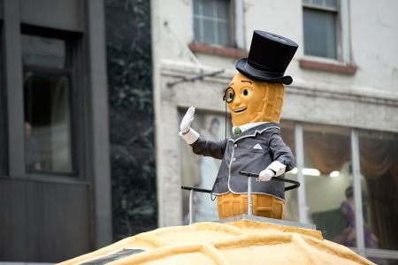 Mr. Peanut attends the 88th Annual Macys Thanksgiving Day Parade at  on November 27, 2014 in New York, New York.  (Photo by Noam Galai/WireImage)