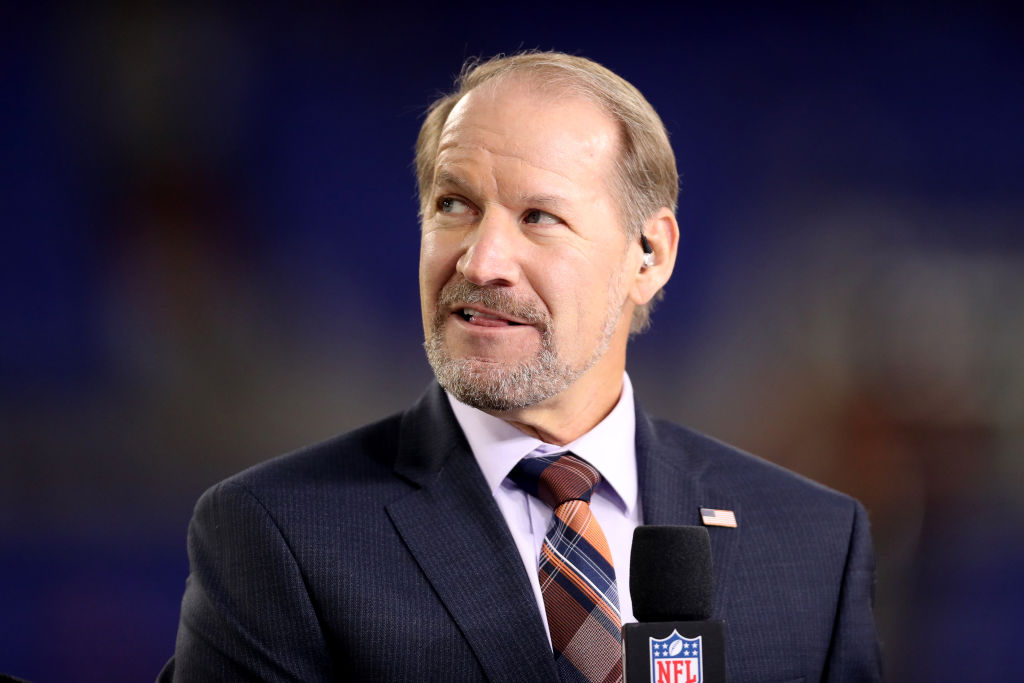 NFL Network analyst Bill Cowher appears on set during the Baltimore Ravens and Miami Dolphins game at M&T Bank Stadium on October 26, 2017 in Baltimore, Maryland. (Photo by Rob Carr/Getty Images)