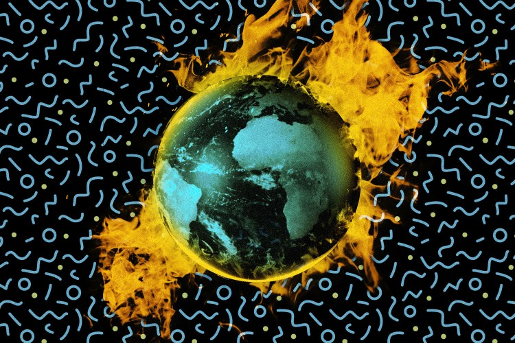 Earth on fire from the climate change crisis