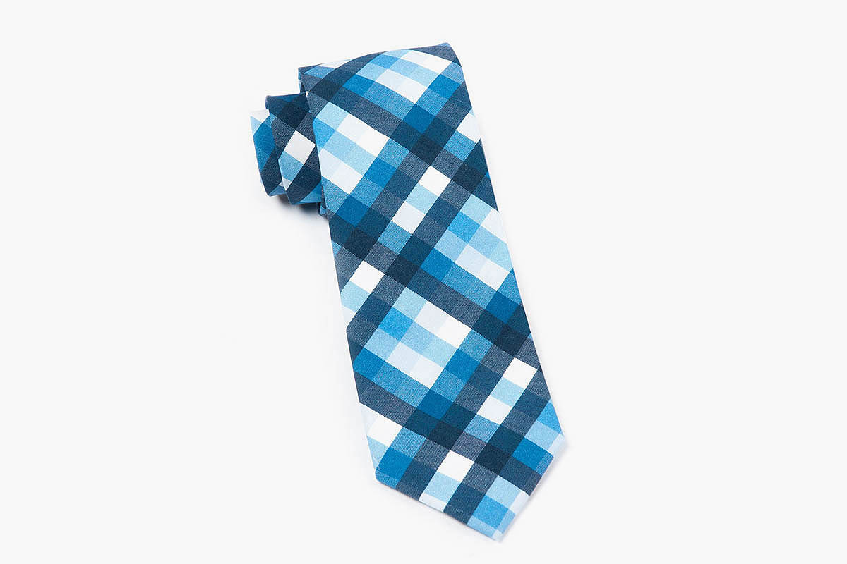 The Tie Bar Blue Acoustic Check Tie