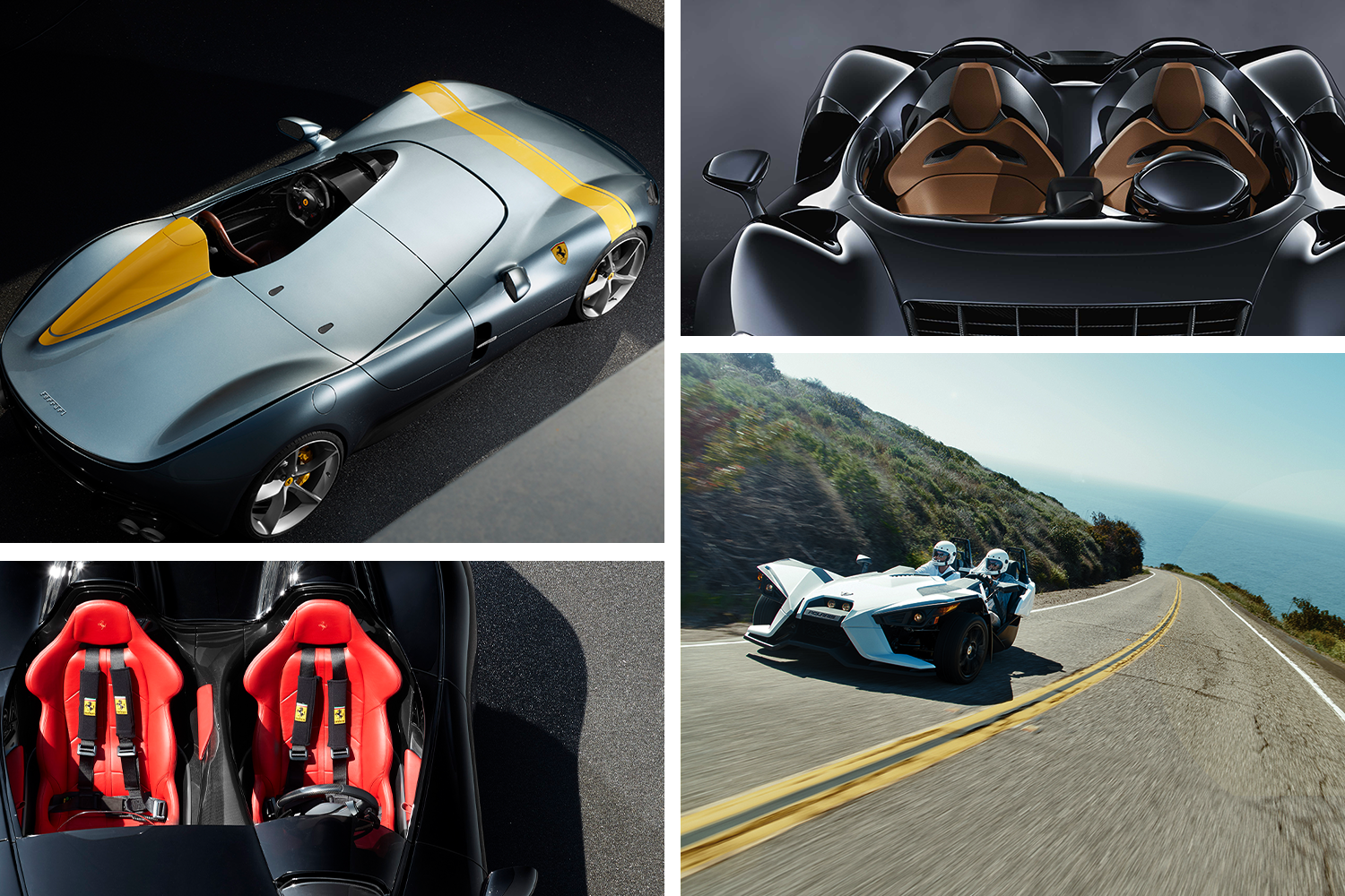 CLOCKWISE FROM TOP LEFT: FERRARI MONZA SP1, MCLAREN ELVA, POLARIS SLINGSHOT S AND FERRARI MONZA SP1