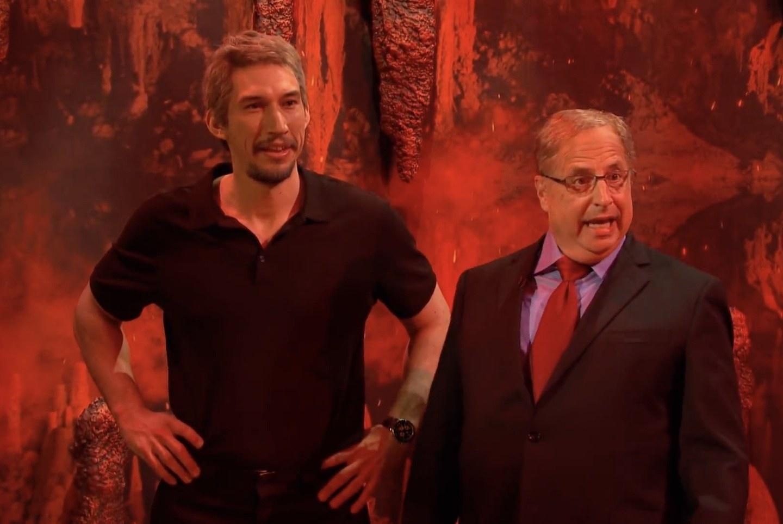"Adam Driver as Jeffrey Epstein and Jon Lovitz as Alan Dershowitz on ""SNL."""