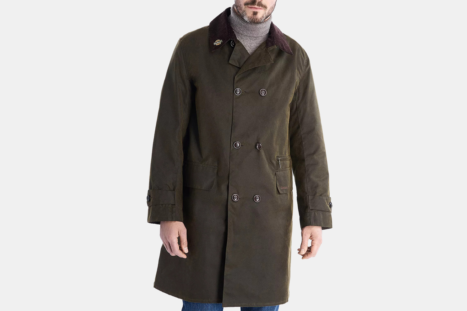 Men's Barbour Icons Haydon Waxed Double-Breasted Coat