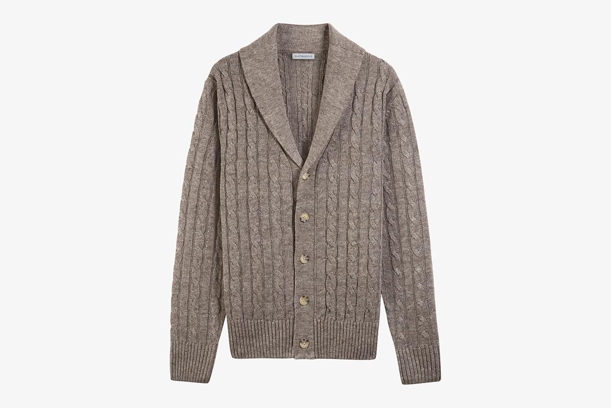 Brown Shawl Collar Cardigan