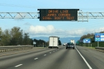 Highway sign referencing James Corden