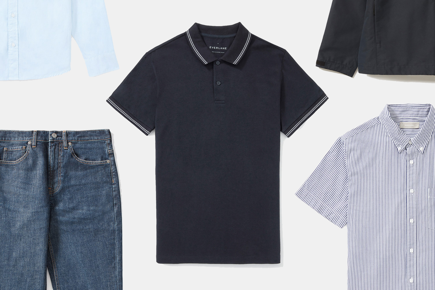 Everlane men's polos, straight fit jeans, Oxford shirts and jackets