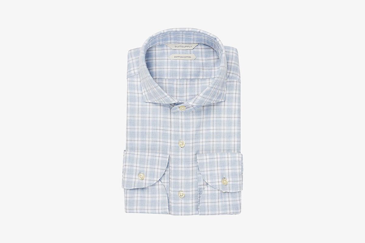 Light Blue Check Flannel Shirt