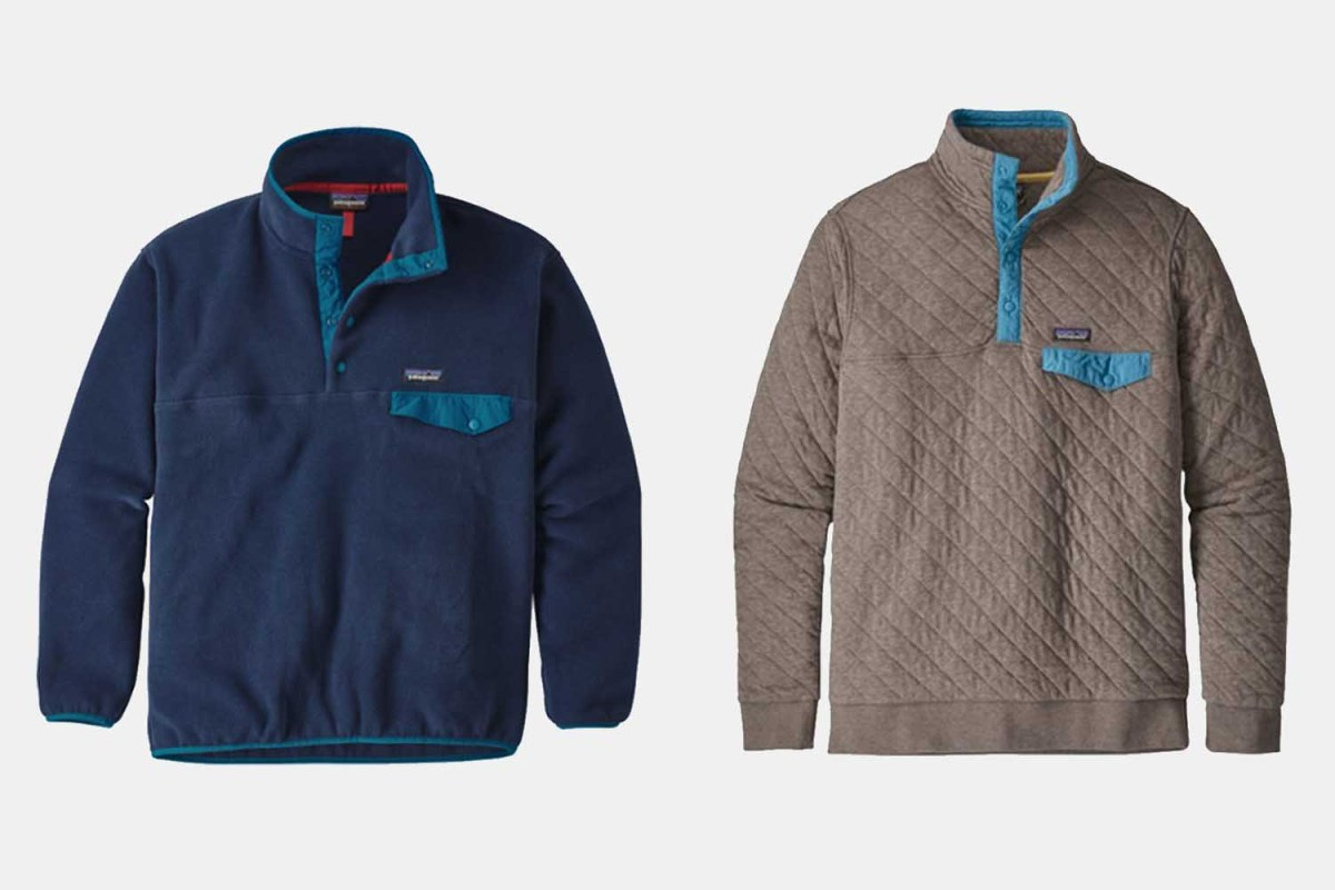The Synchilla Snap-T fleece pullover and Cotton Quilt Snap-T pullover