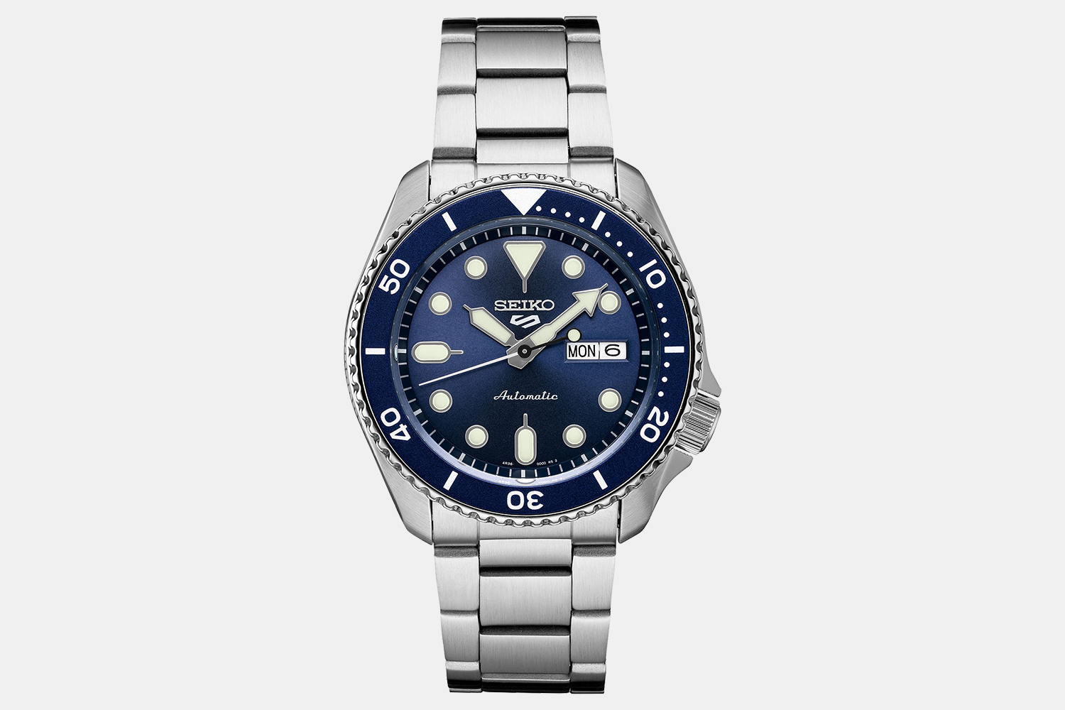 Seiko Automatic 5 Sports Watch With Stainless Steel Bracelet
