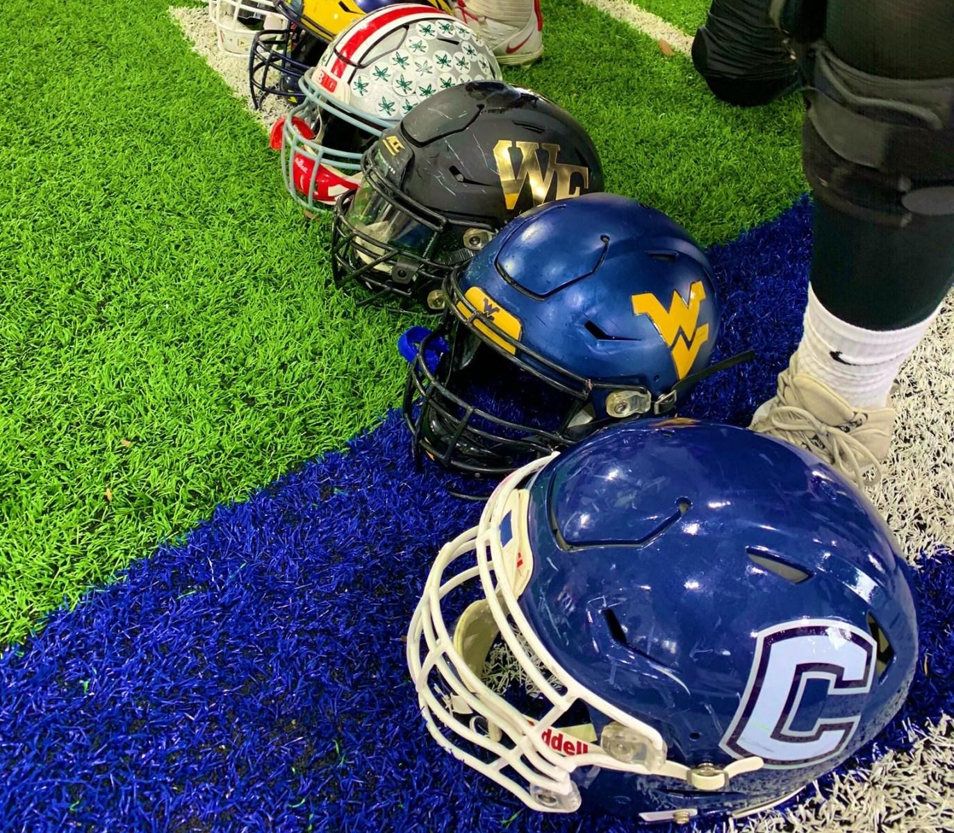 Senior Bowl helmets
