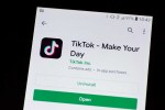 A TikTok logo is seen on a mobile device in Mountain View, California on November 2, 2019 as a photo illustration. (Photo by Yichuan Cao/NurPhoto via Getty Images)